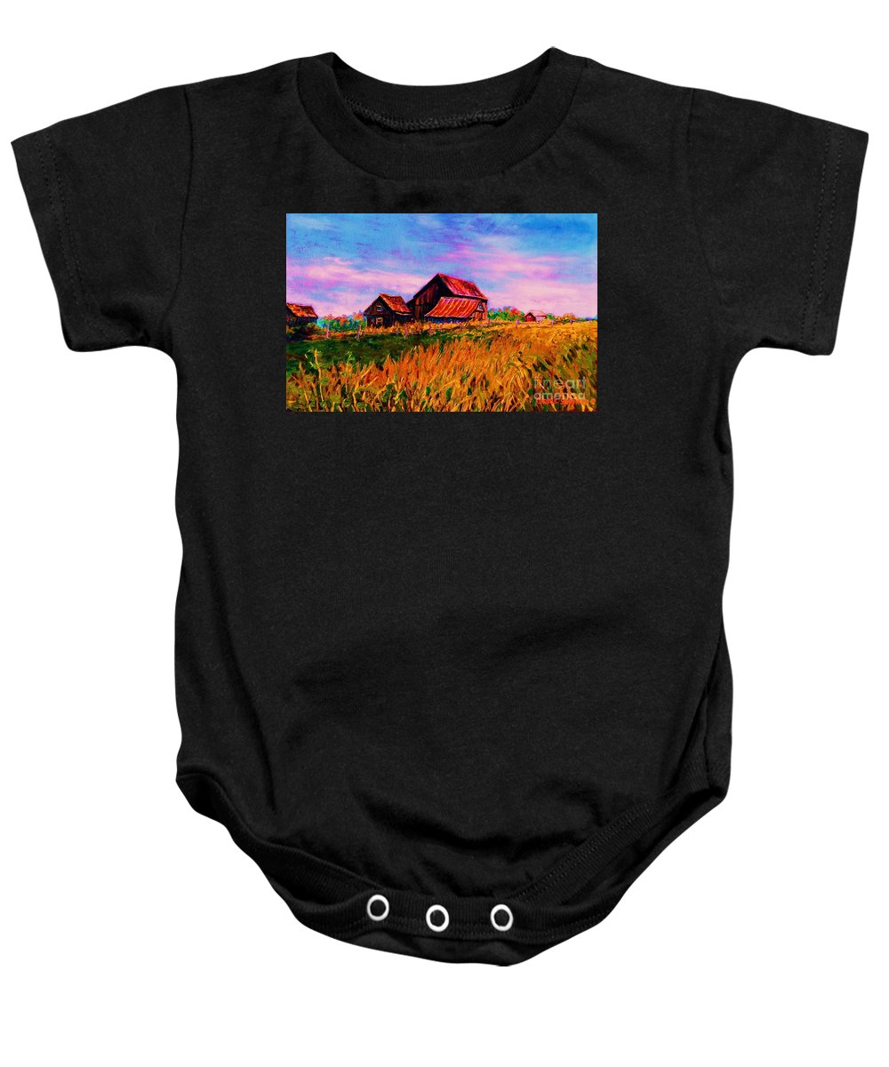 Rustic Barns Baby Onesie featuring the painting Slendor In The Grass by Carole Spandau