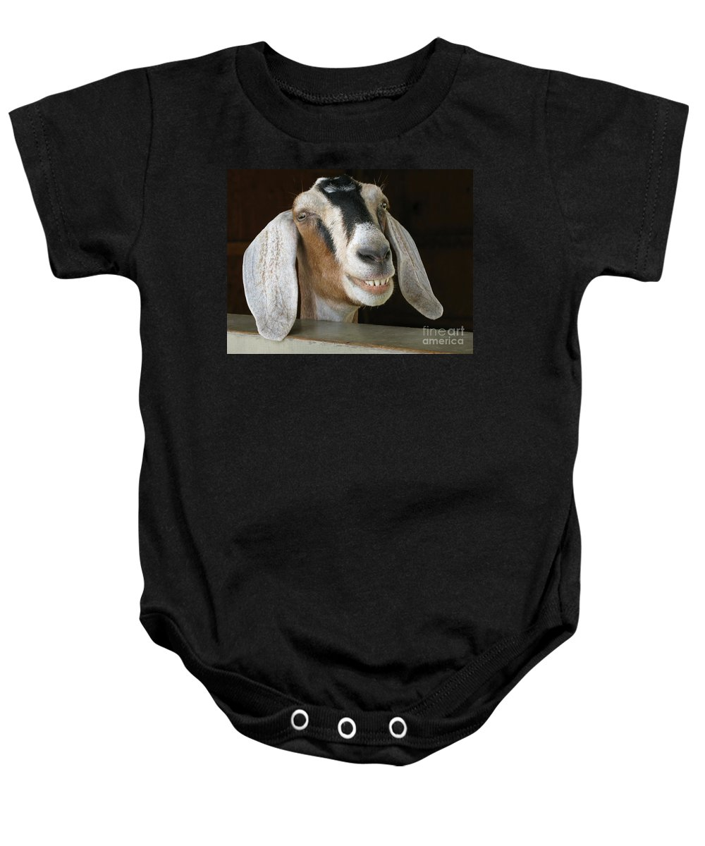 Goat Baby Onesie featuring the photograph Smile Pretty by Ann Horn