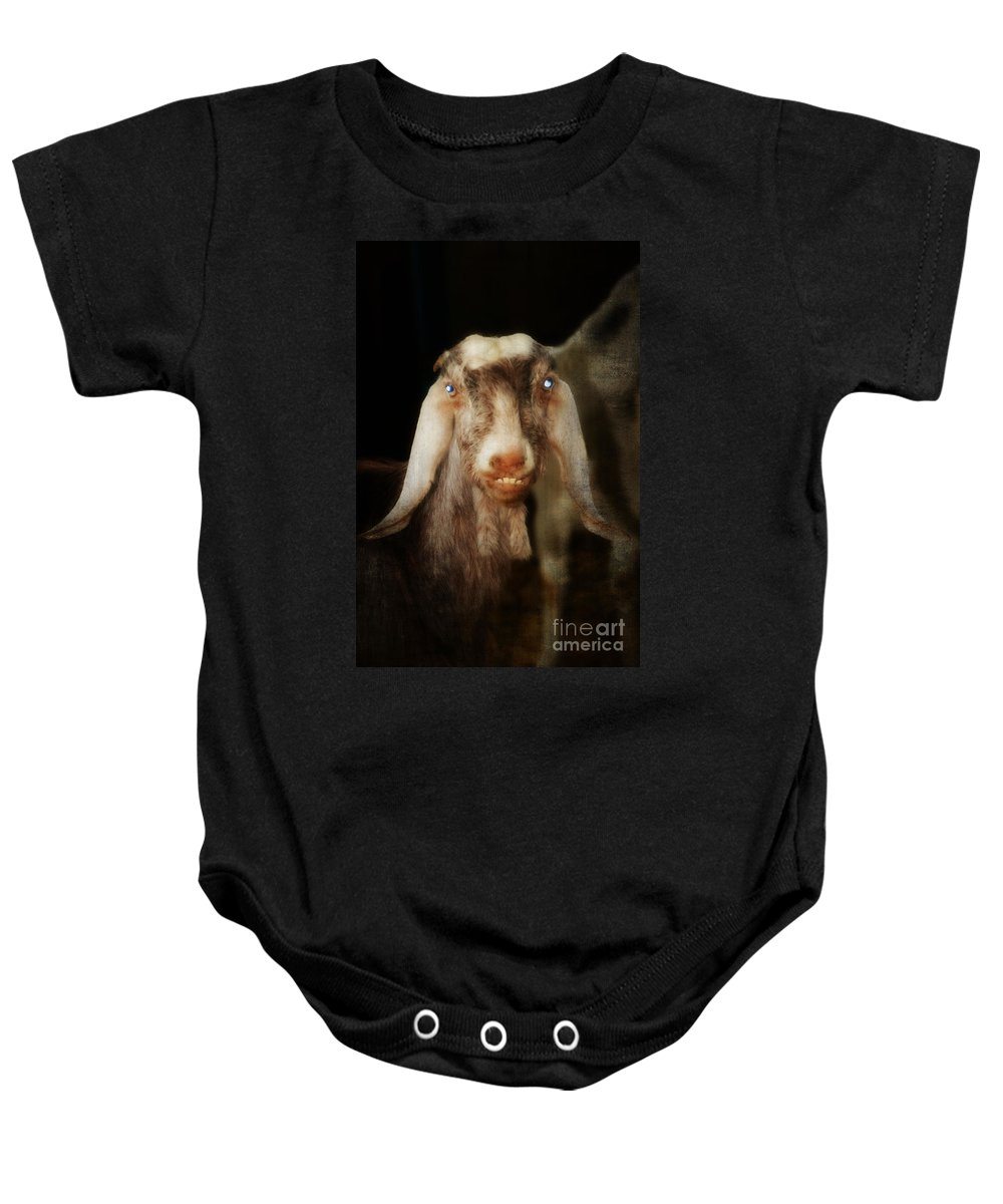Sheep Baby Onesie featuring the painting Smiling Egyptian Goat I by Doc Braham