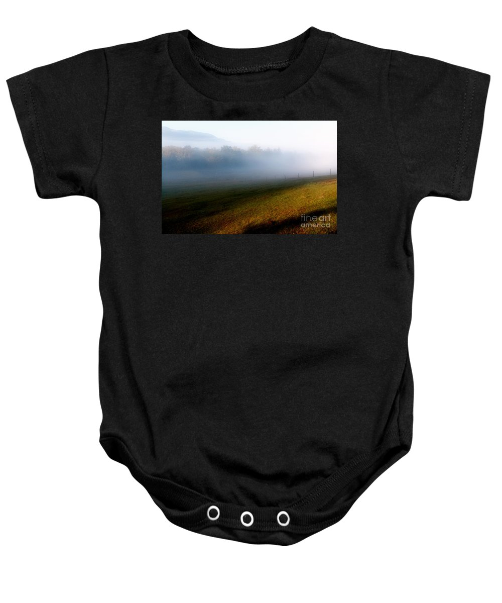 Fog Baby Onesie featuring the photograph Smoky Mountain Blush by Douglas Stucky