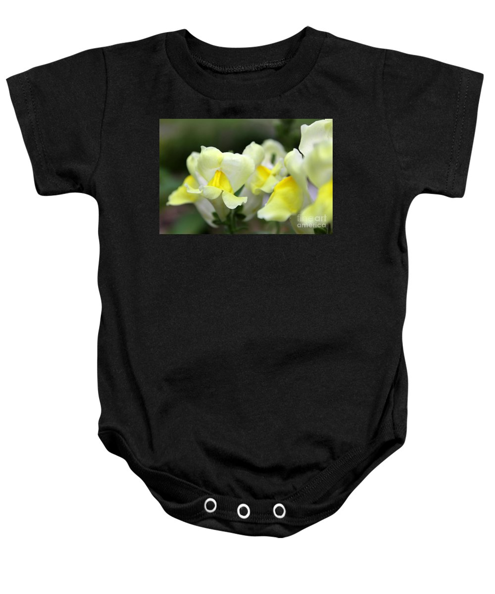 Snapdragons Baby Onesie featuring the photograph Snapdragons Group Of Yellow Cream by Renee Croushore