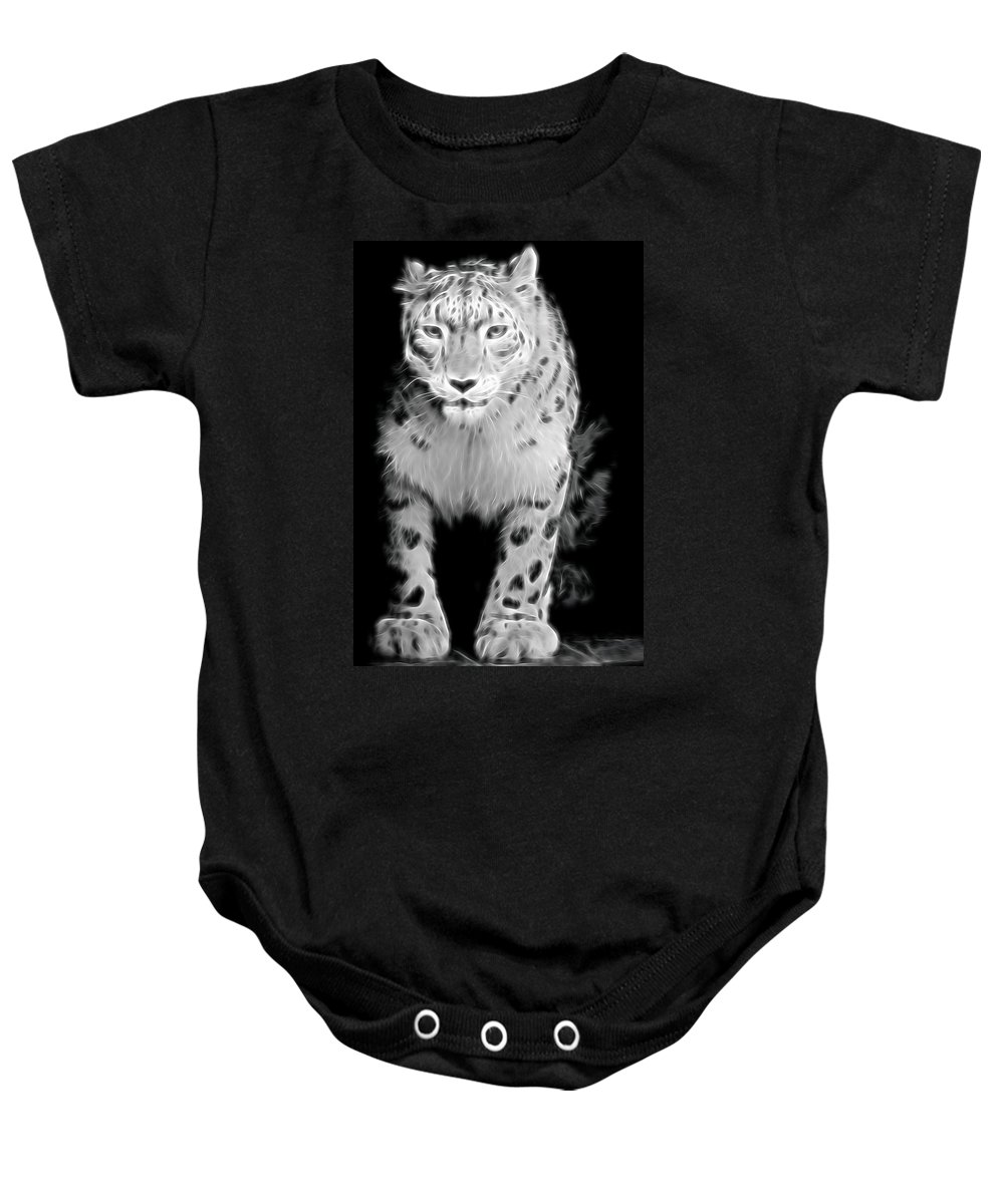 Snow Leopard Baby Onesie featuring the photograph Snow Leopard by Terry DeLuco