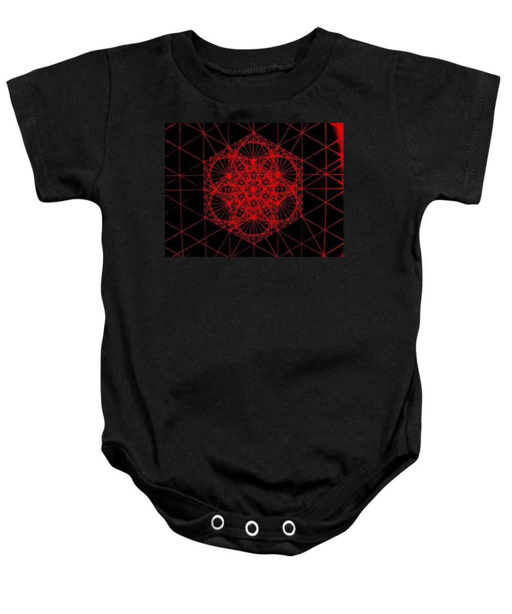 Koch.snowflake Baby Onesie featuring the drawing Snowflake Shape Comes From Frequency And Mass by Jason Padgett