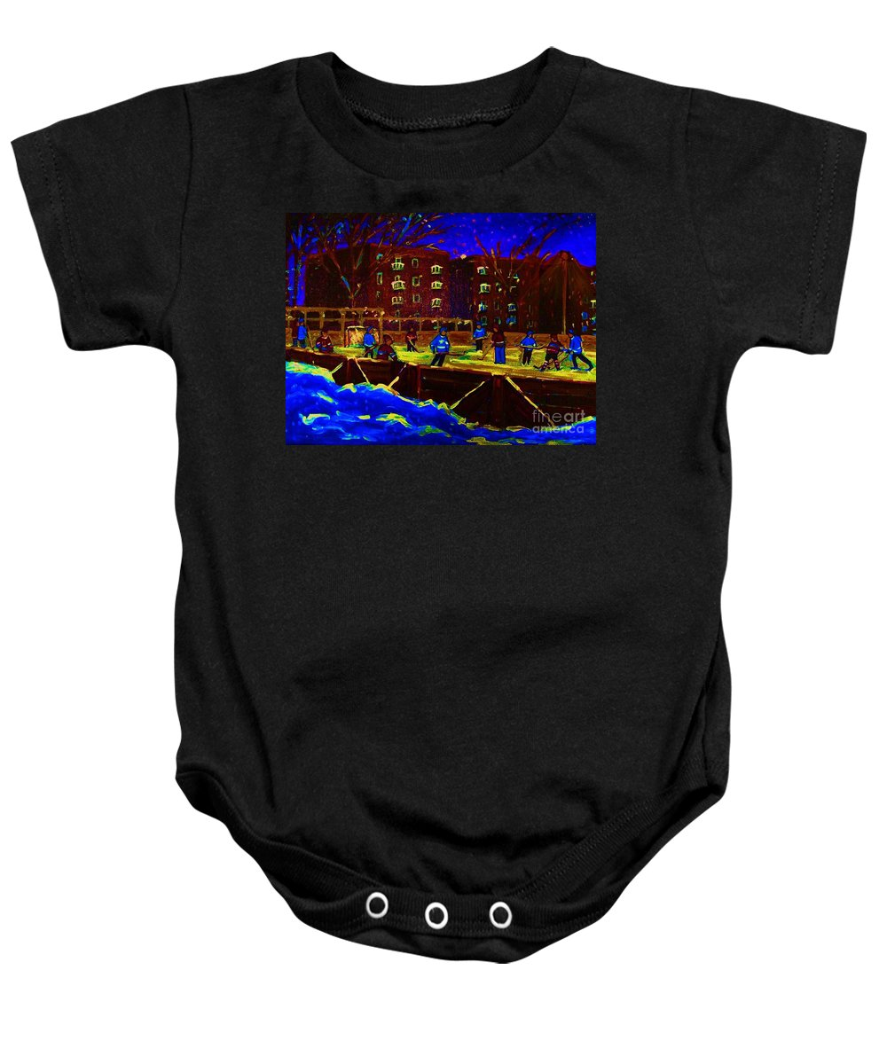 Hockey Baby Onesie featuring the painting Snowing At The Rink by Carole Spandau