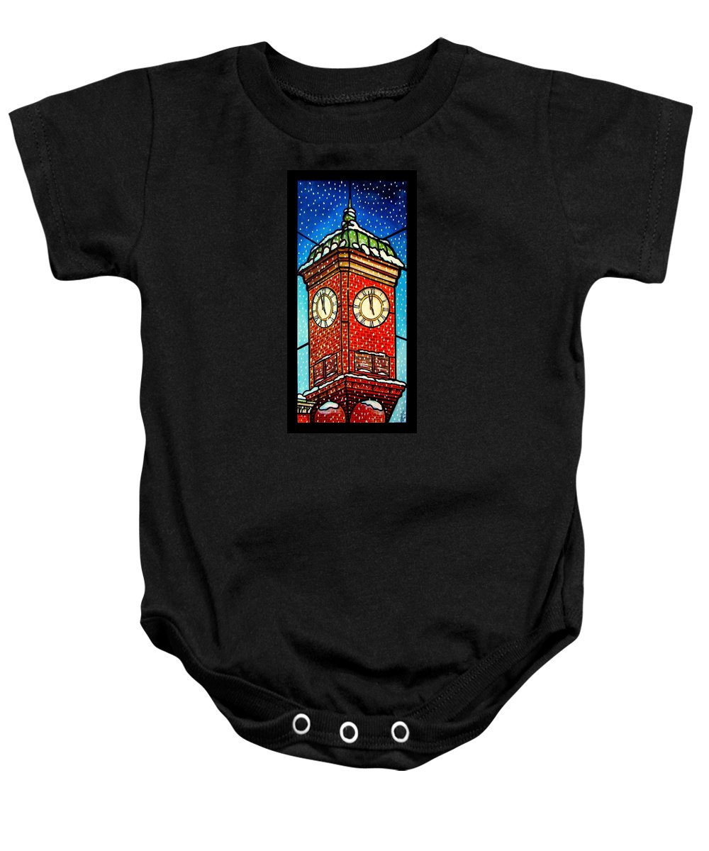 Snow Baby Onesie featuring the painting Snowy Clock Tower by Jim Harris