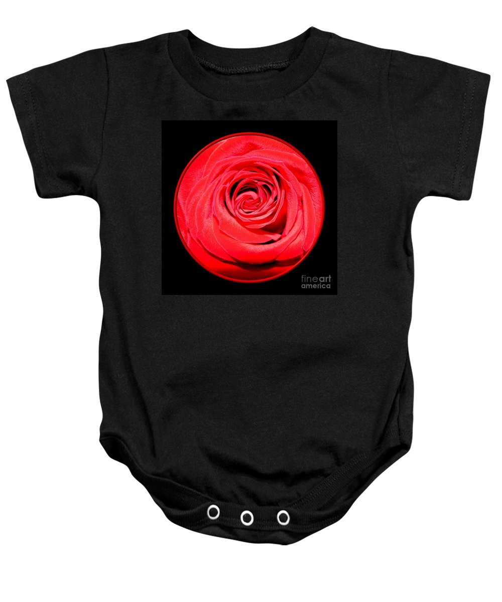 Rose Baby Onesie featuring the photograph Soft Red Rose Closeup by Rose Santuci-Sofranko