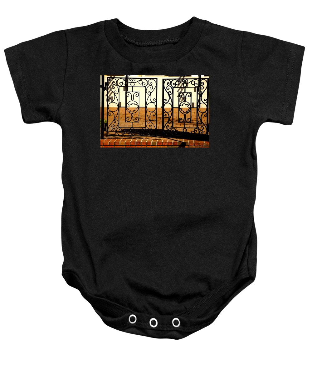 Gate Baby Onesie featuring the photograph Sorosis Gate by Laurie Perry