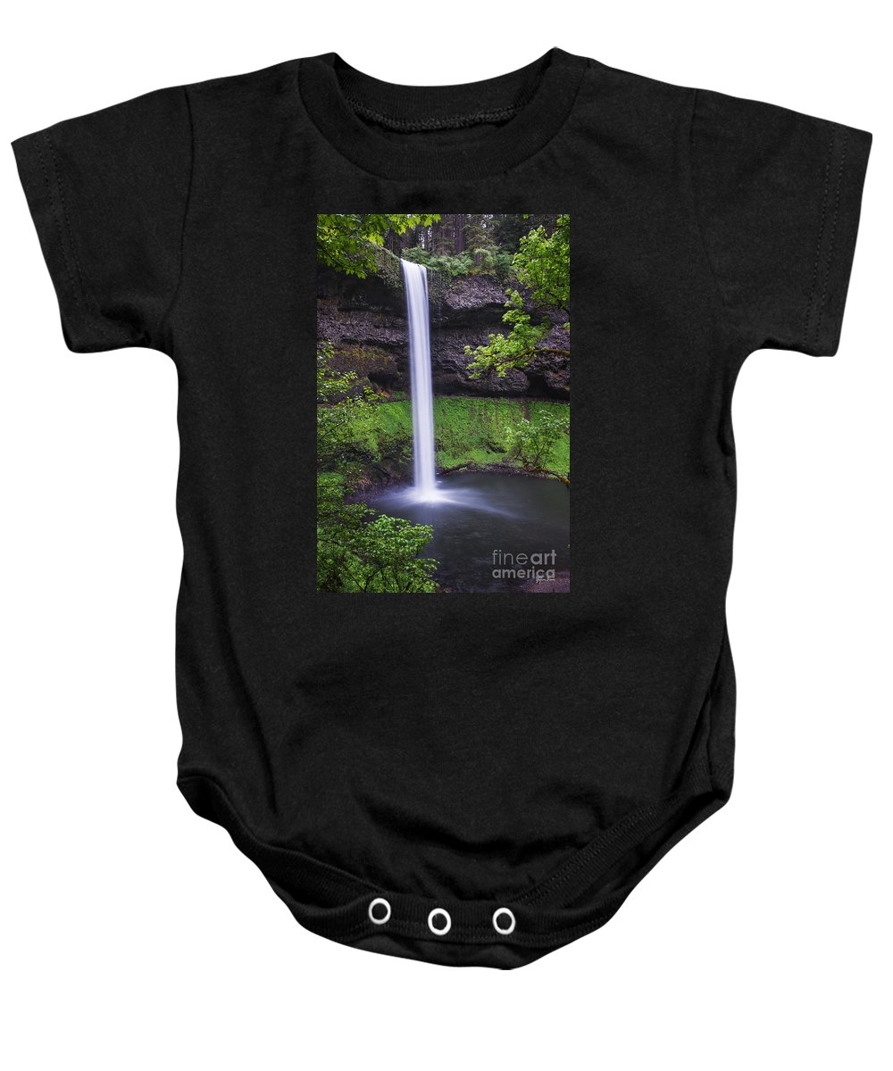 South Falls Baby Onesie featuring the photograph South Falls - Silver Falls State Park - Oregon by Yefim Bam