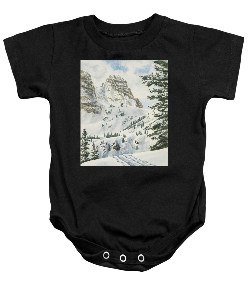 Ski Baby Onesie featuring the painting South by Link Jackson