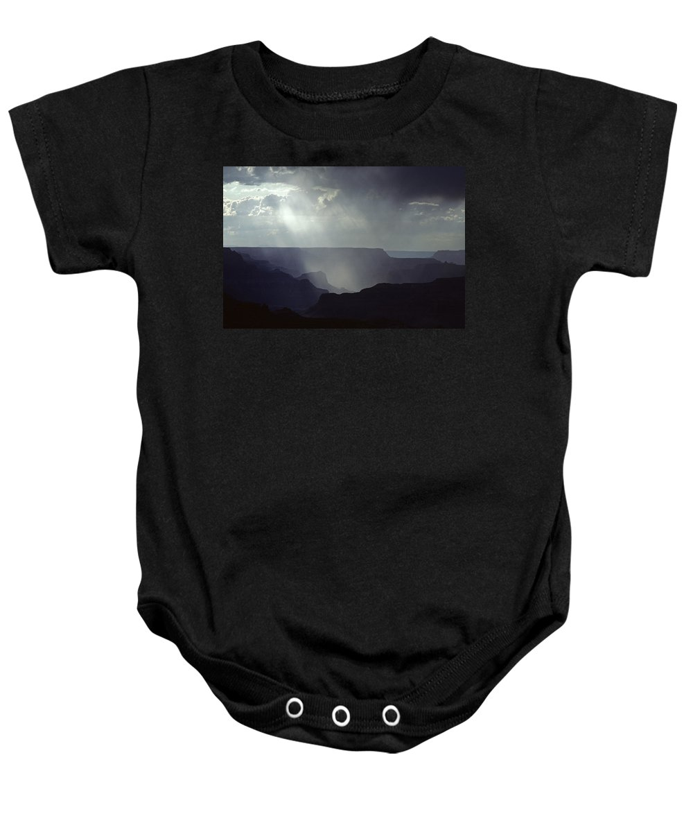 Grand Canyon National Park Baby Onesie featuring the photograph South Rim Grand Canyon Storm Clouds And Light On Rock Formations by Jim Corwin