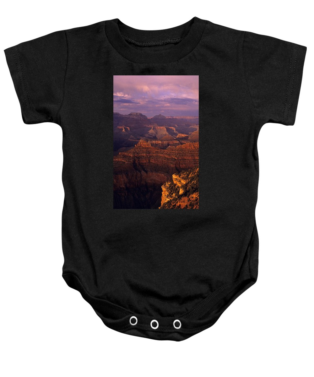 Grand Canyon National Park Baby Onesie featuring the photograph South Rim Grand Canyon Taken Near Yavapai Point Sunset Light On by Jim Corwin