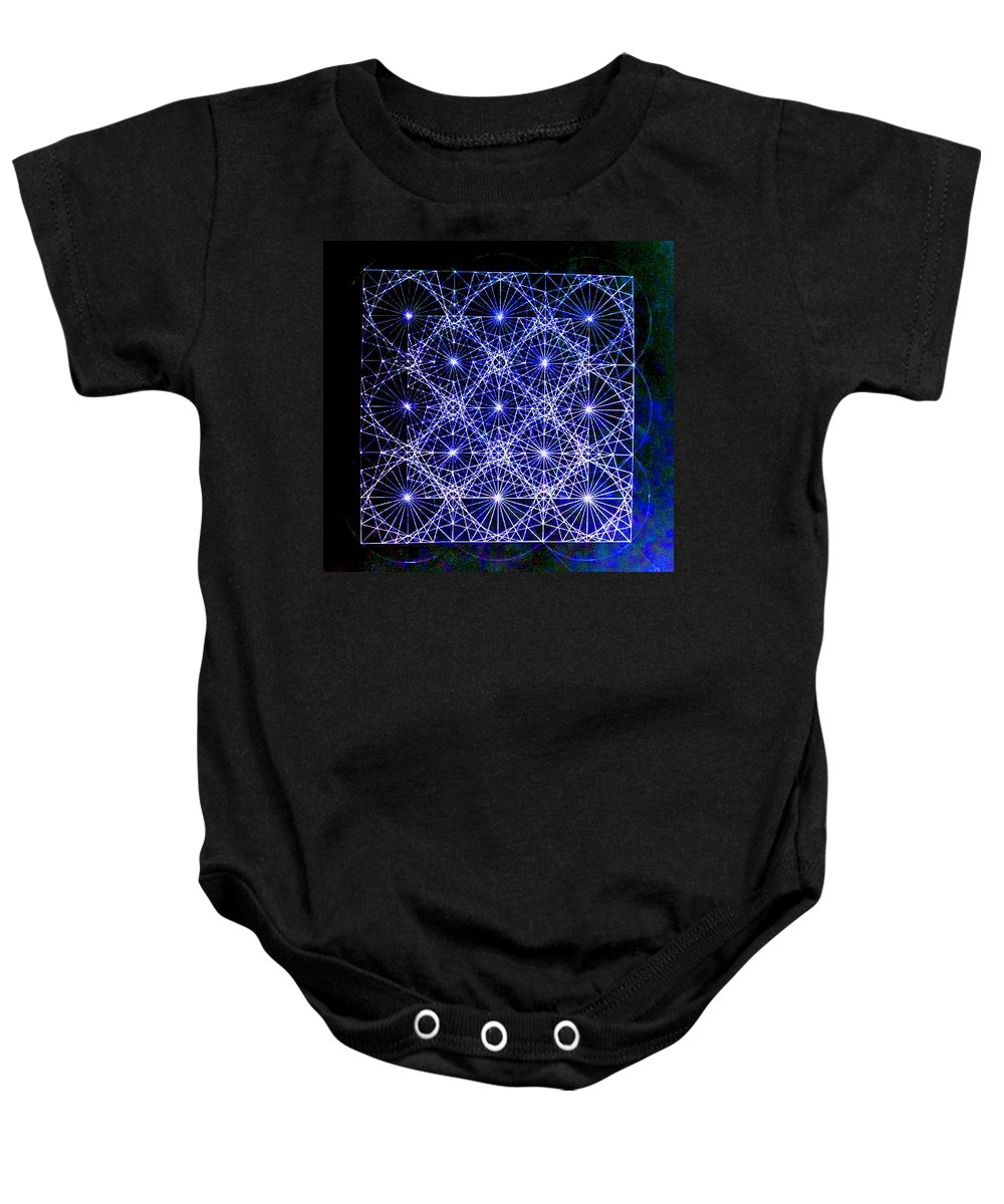 Space Baby Onesie featuring the drawing Space Time At Planck Length Vibrating At Speed Of Light Due To Heisenberg Uncertainty Principle by Jason Padgett