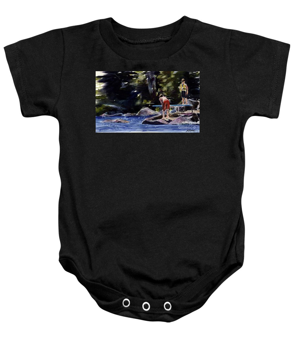 Lake Baby Onesie featuring the painting Sparkle Lake by Molly Poole