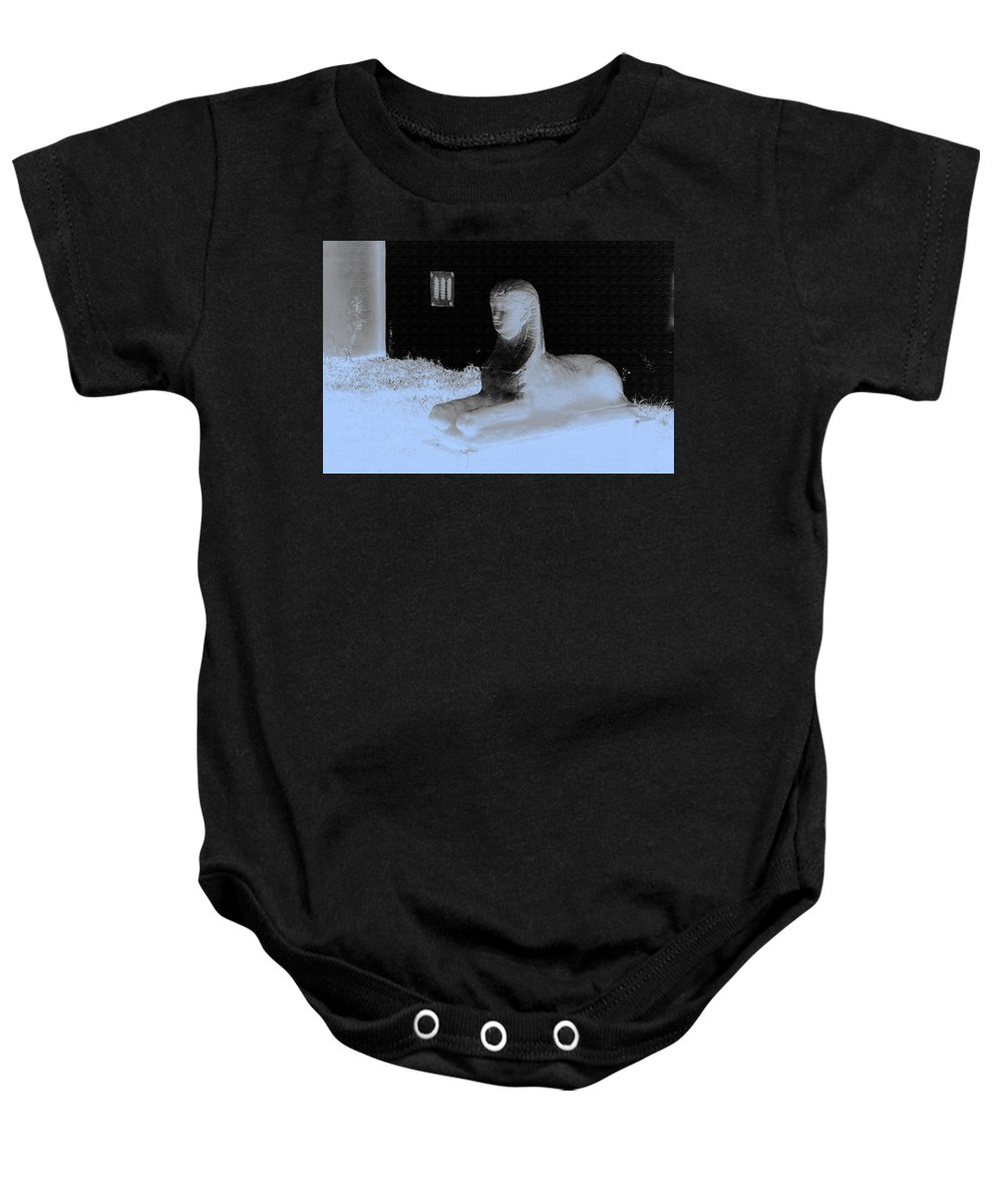 Color Baby Onesie featuring the photograph Sphinx Statue Three Quarter Profile Blue Glow Usa by Sally Rockefeller