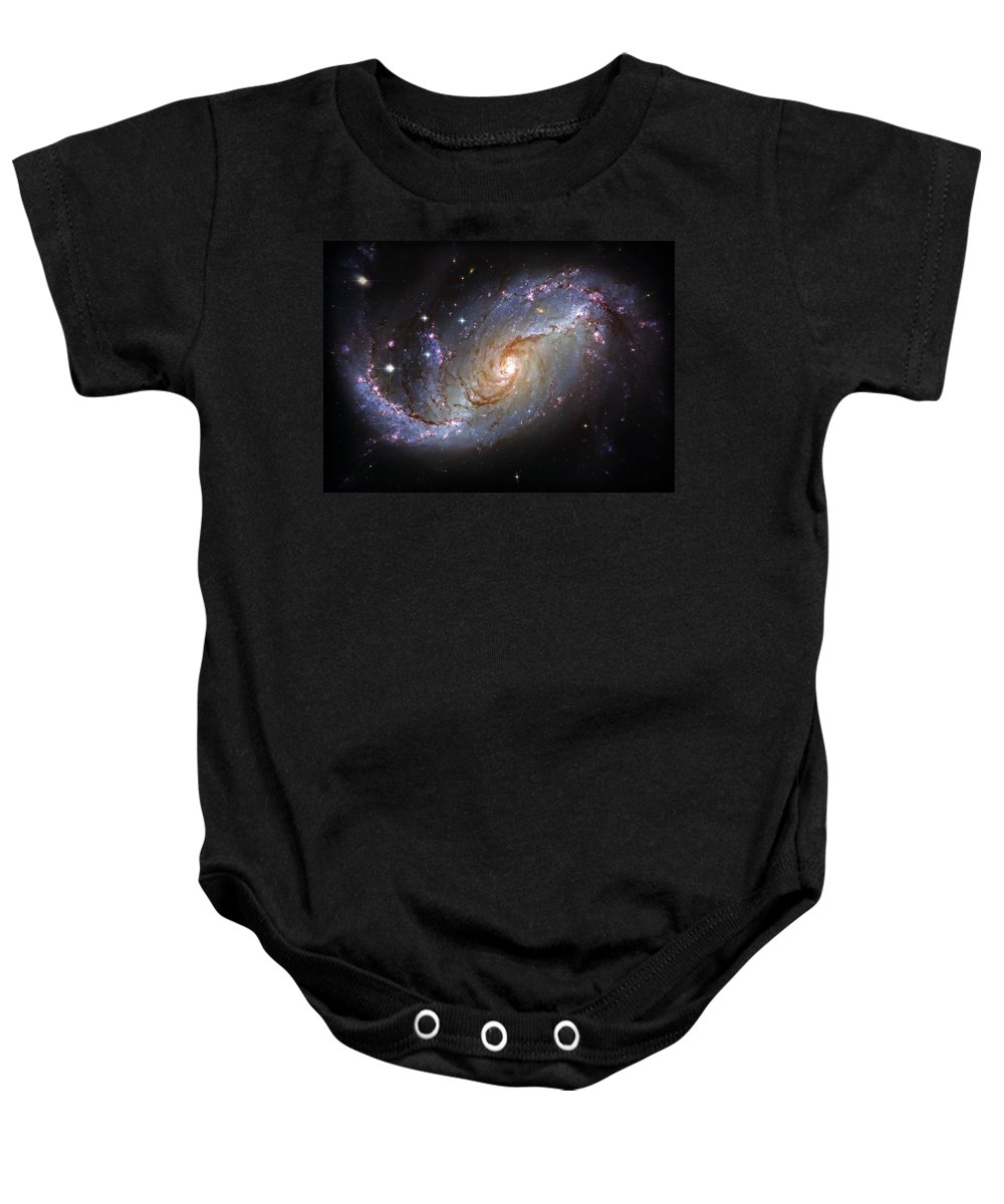 Universe Baby Onesie featuring the photograph Spiral Galaxy Ngc 1672 by Jennifer Rondinelli Reilly - Fine Art Photography