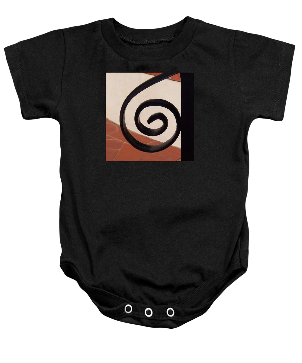 Hearst Castle Baby Onesie featuring the photograph Spiral Stair Railing by Art Block Collections