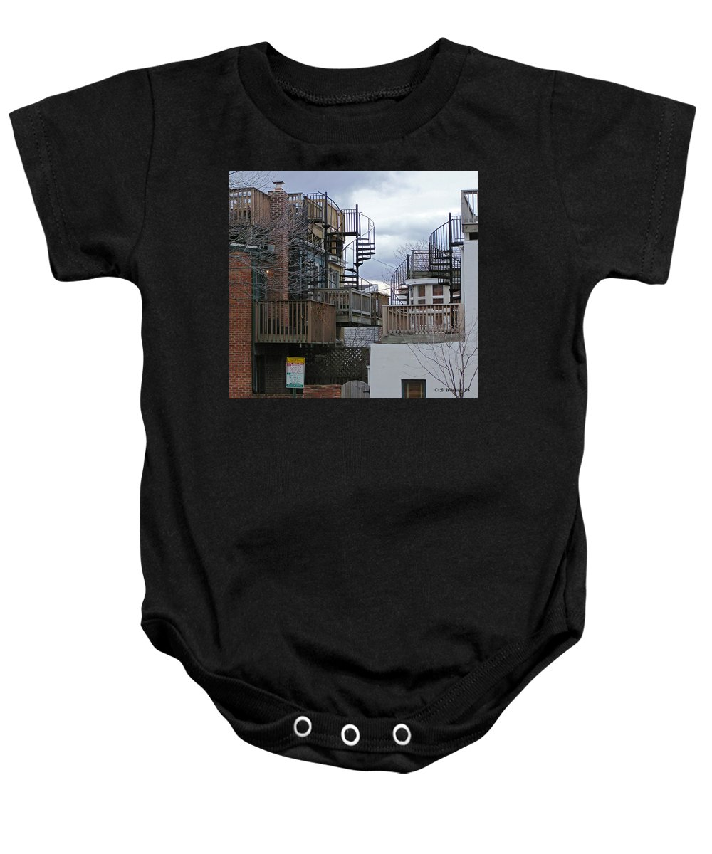 2d Baby Onesie featuring the photograph Spiral Stairs by Brian Wallace
