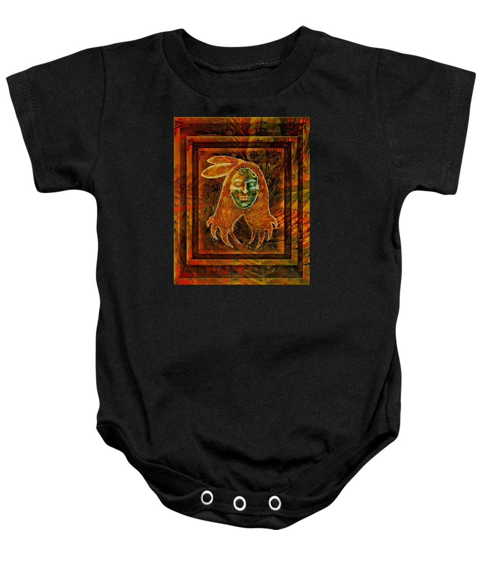 Native American Baby Onesie featuring the painting Spirit Fire II by Kevin Chasing Wolf Hutchins