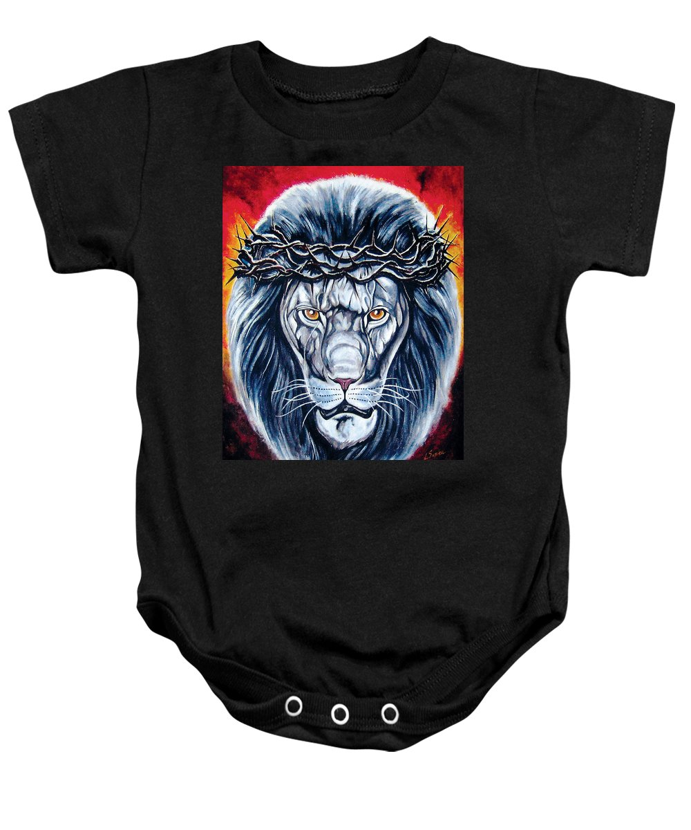 Crimson Love Baby Onesie featuring the painting Spirit Of Judah by Lucky Chen