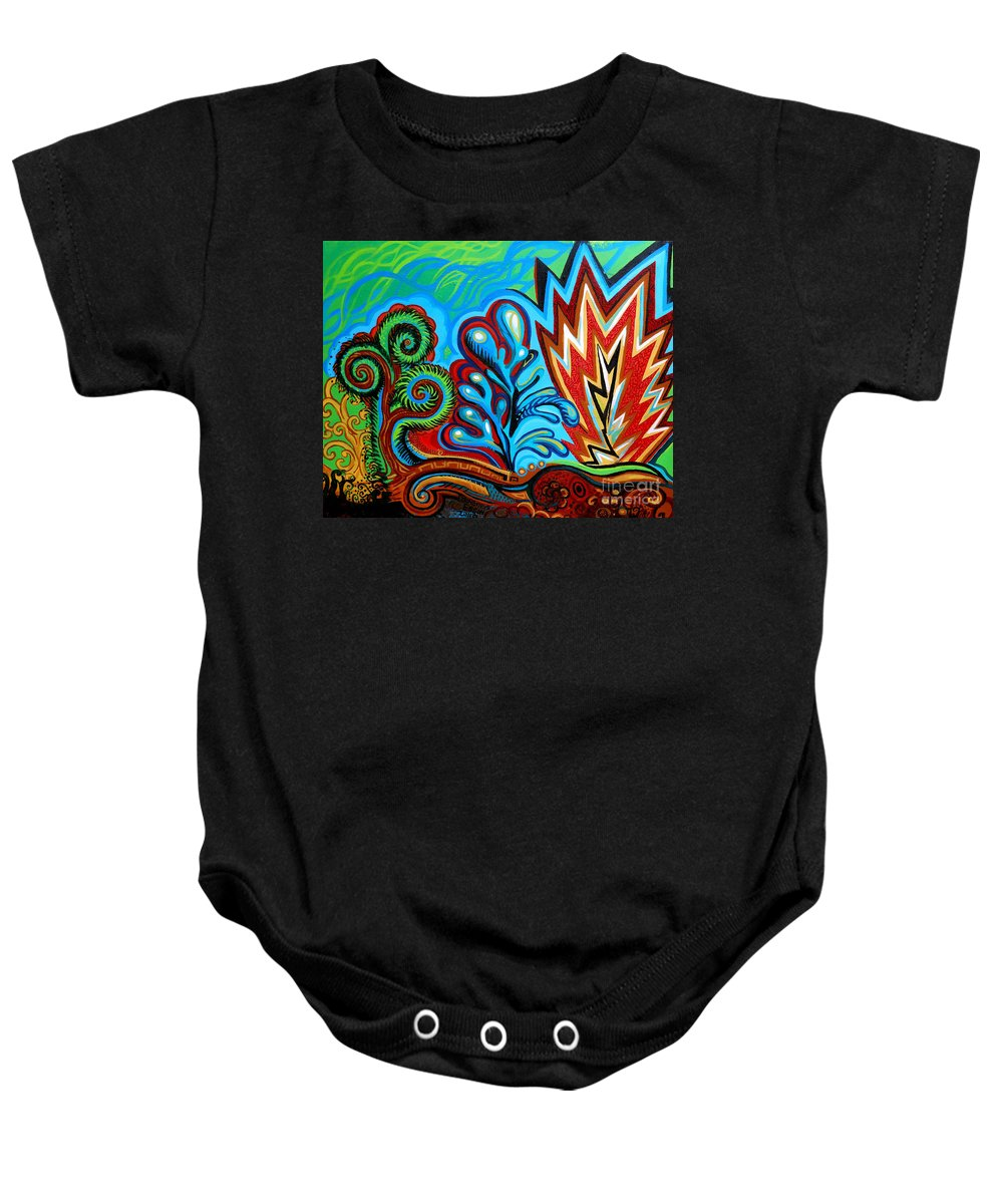 Flowers Baby Onesie featuring the painting Spiro Gyra by Genevieve Esson
