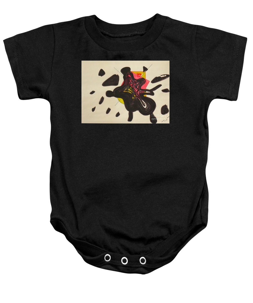 Abstract Baby Onesie featuring the drawing Splash Went The City by Michael Anthony Edwards