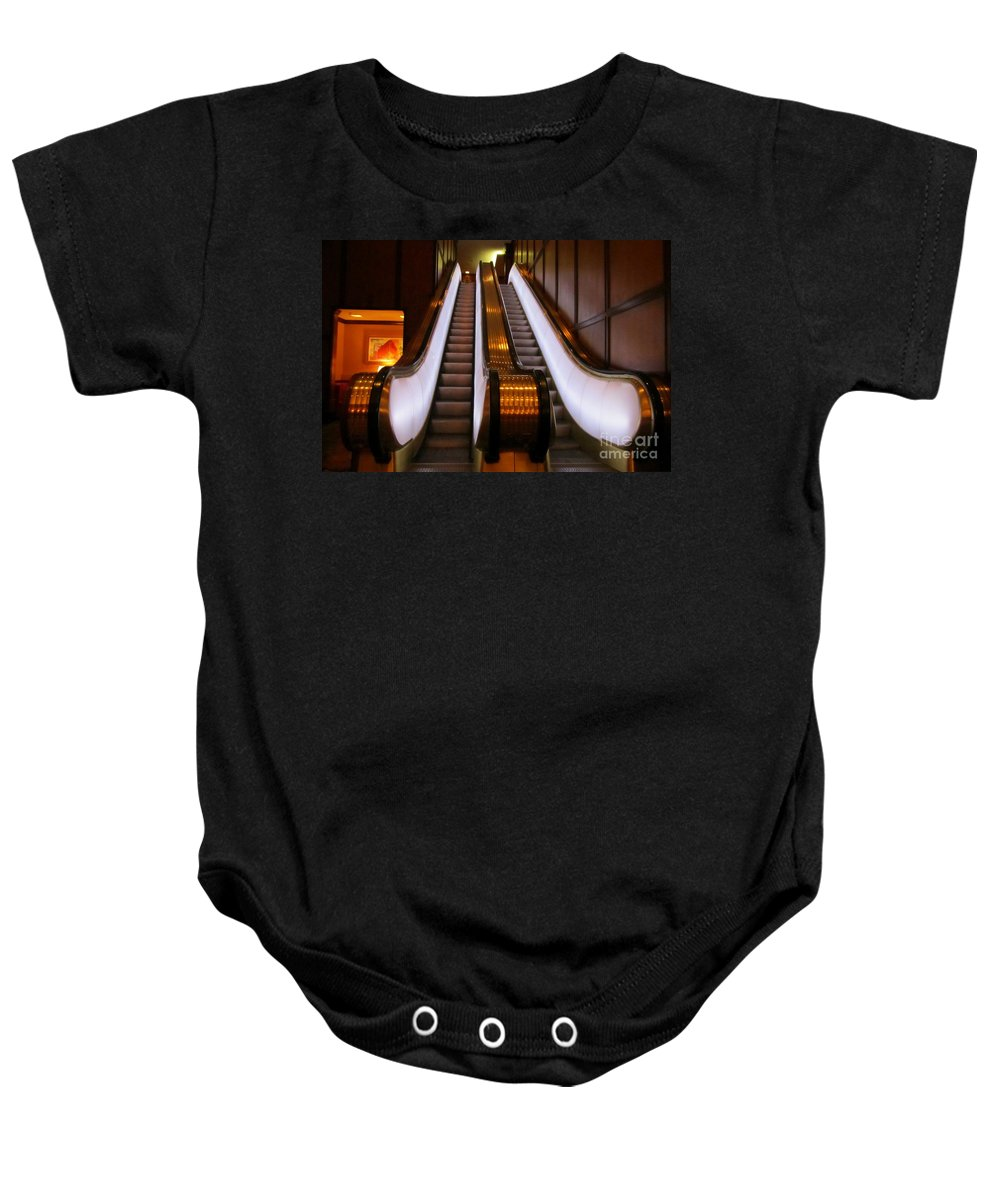 Brown Palace Hotel Baby Onesie featuring the photograph Spooky Escalator At The Brown Palace In Denver by John Malone