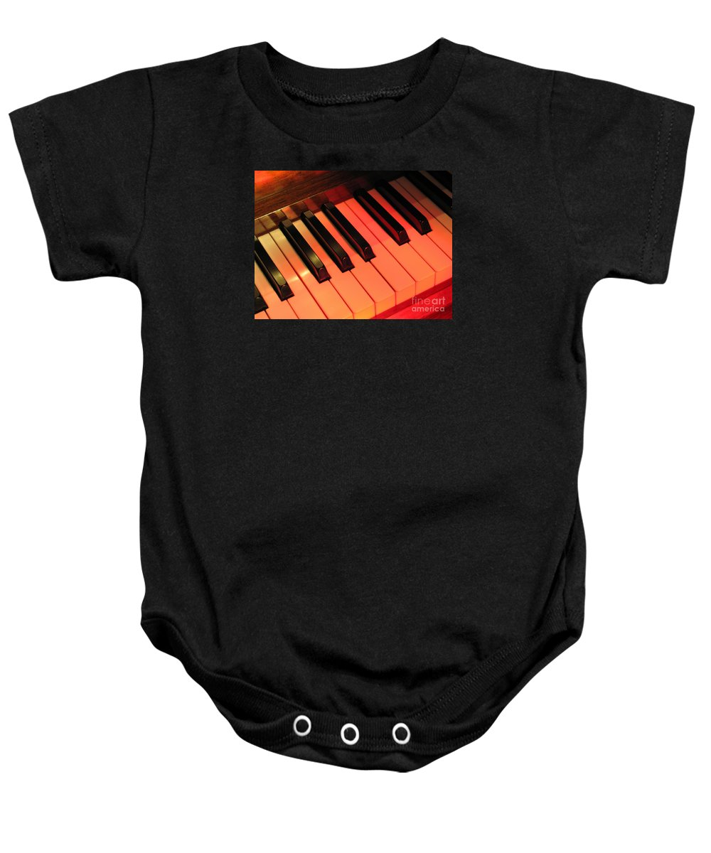 Piano Baby Onesie featuring the photograph Spotlight On Piano by Ann Horn