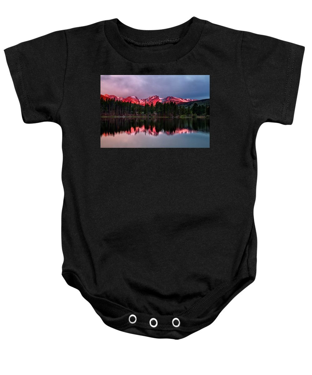 Sprague Lake Baby Onesie featuring the photograph Sprague Lake by Ronda Kimbrow
