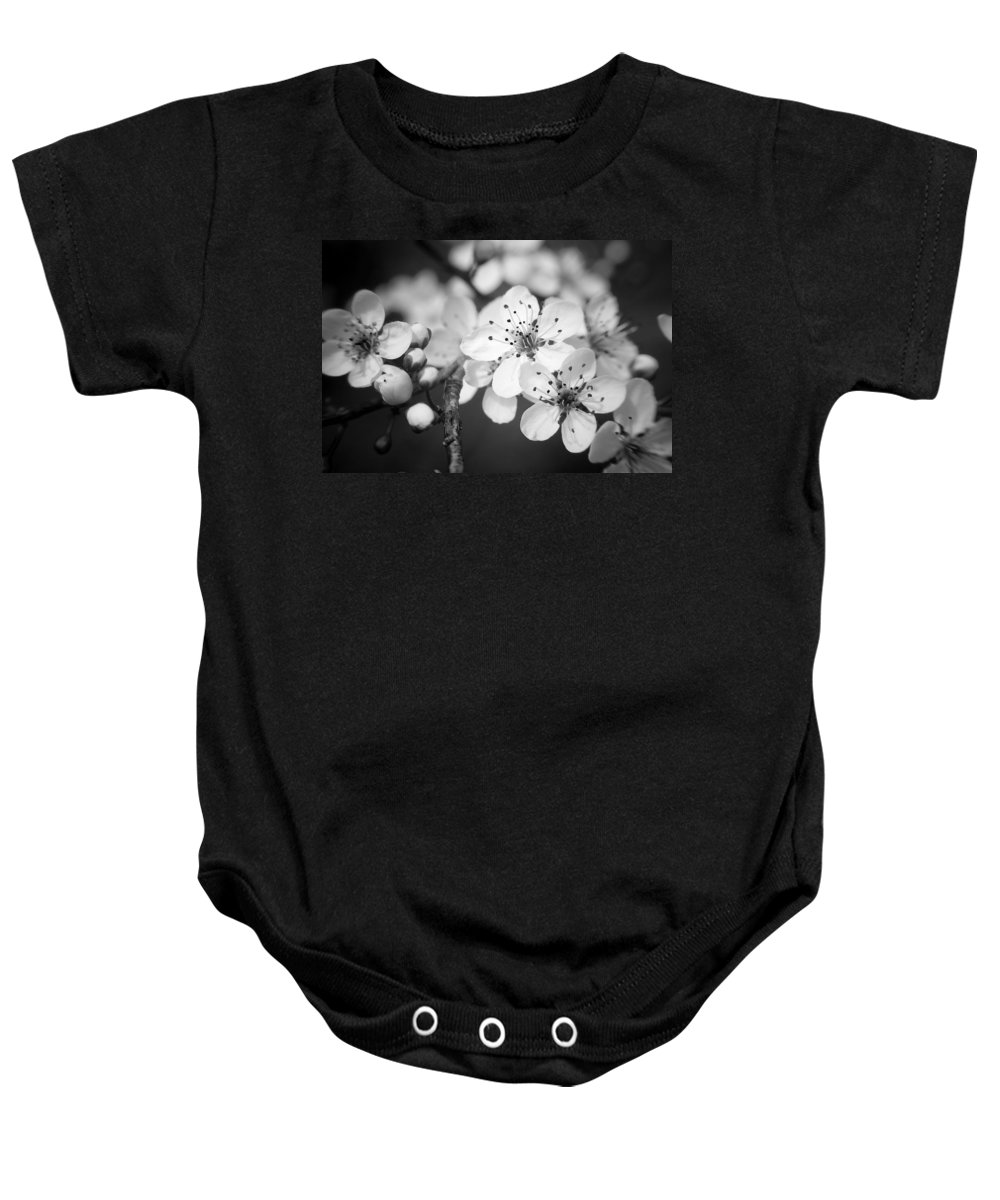 B&w Baby Onesie featuring the photograph Spring Blooms 6690 by Timothy Bischoff