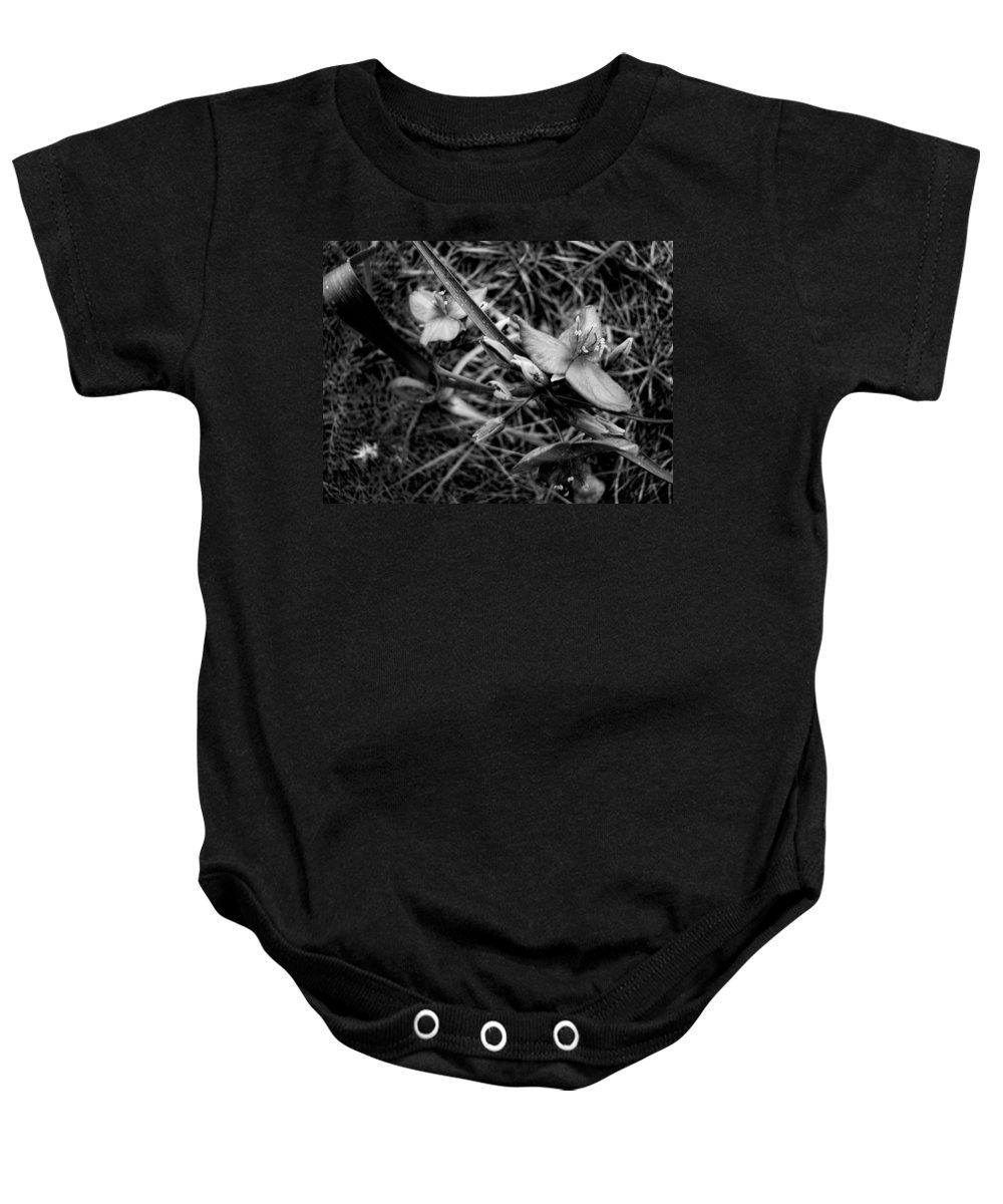 Baby Onesie featuring the photograph Spring Flowers Bw by Cathy Anderson
