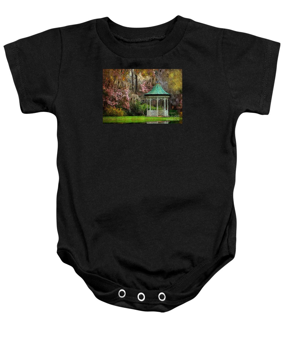 Textures Baby Onesie featuring the photograph Spring Magnolia Garden At Magnolia Plantation by Kathy Baccari