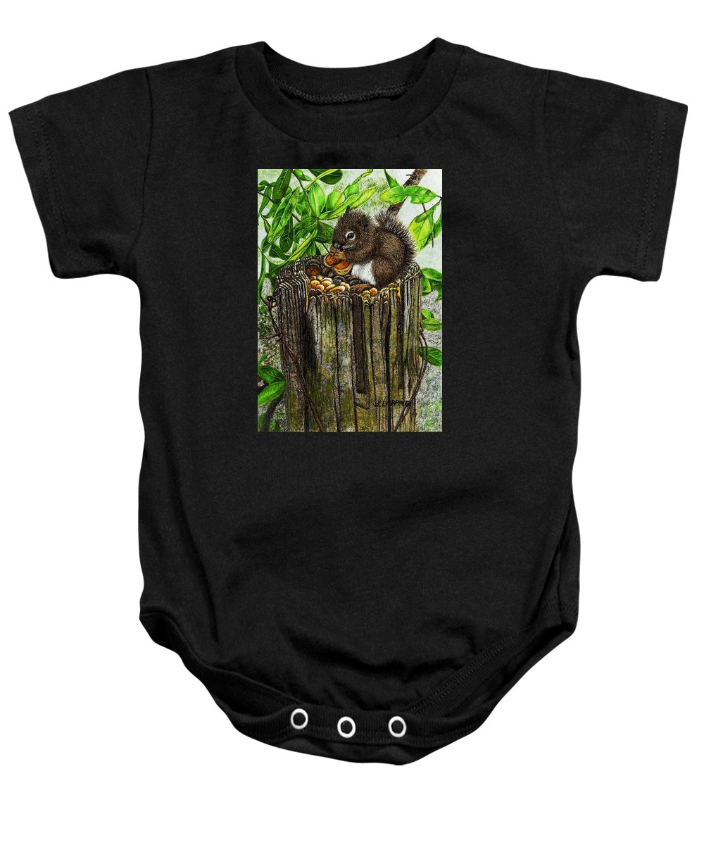 Spring Nuts Baby Onesie featuring the painting Spring Nuts by Sherryl Lapping