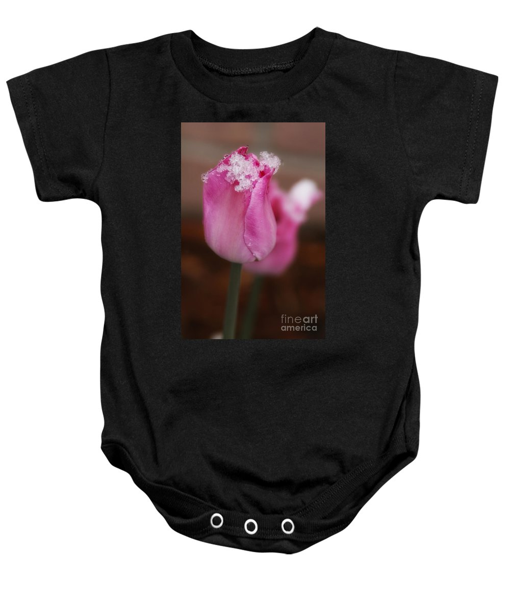 Snow Baby Onesie featuring the photograph Spring Snow 1 by Timothy Hacker