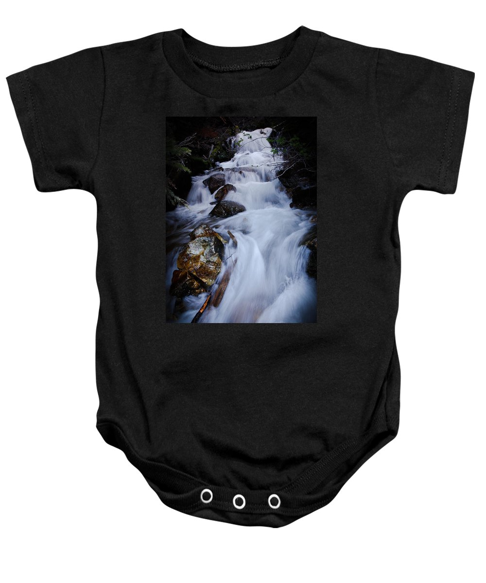 Waterfall Baby Onesie featuring the photograph Springtime Waterfall by Athena Mckinzie