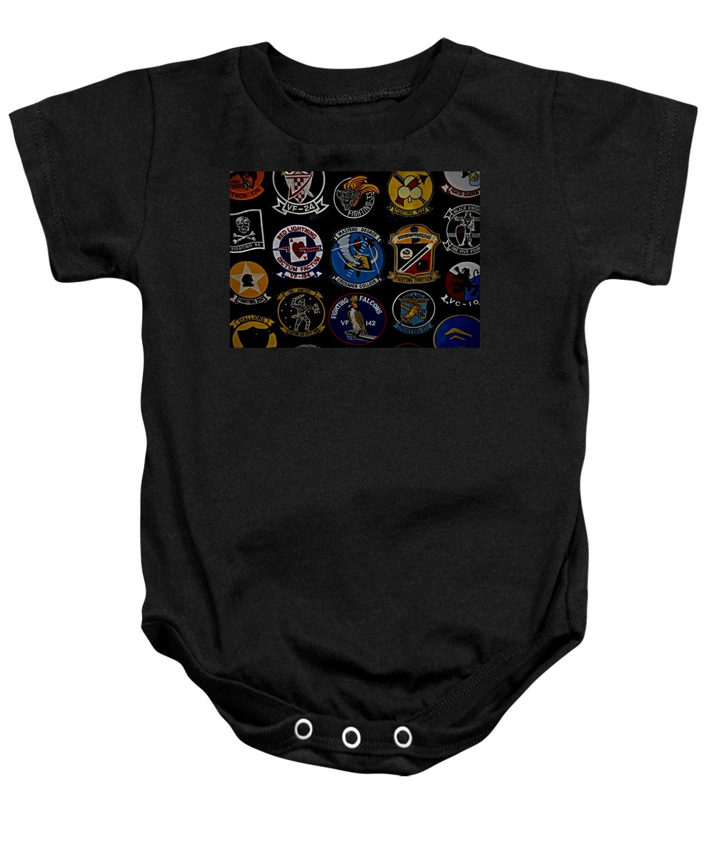United States Navy Baby Onesie featuring the photograph Squadron Patch Collage by See My Photos