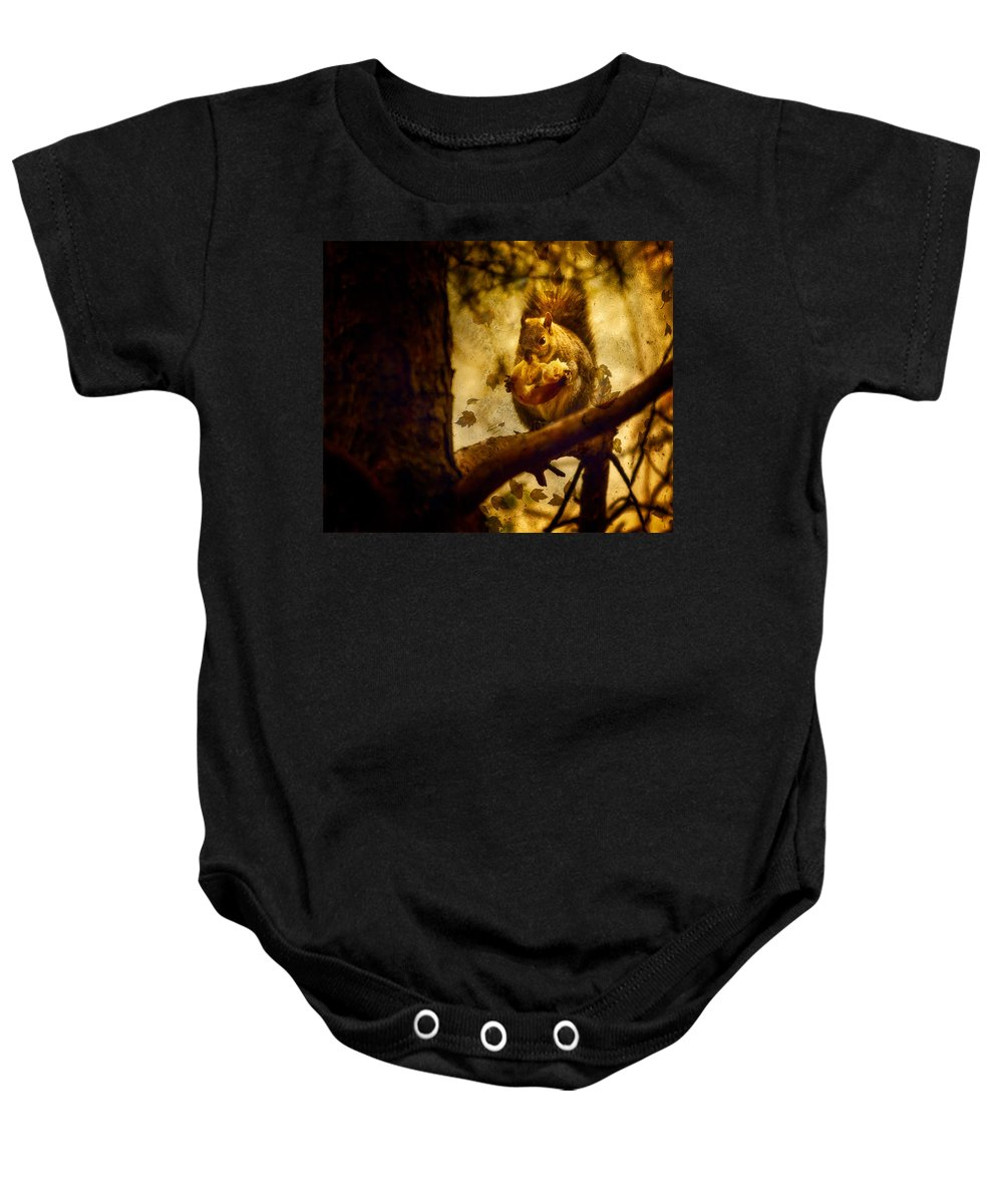 Autum Squirrel With Pear Baby Onesie featuring the photograph Squirrel With Pear by Peter v Quenter