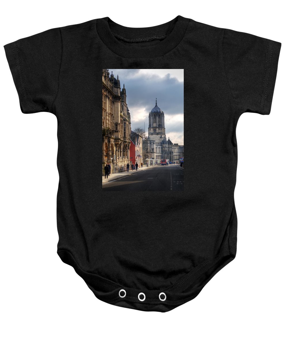 Oxford Baby Onesie featuring the photograph St Aldates Street Road by Chris Day