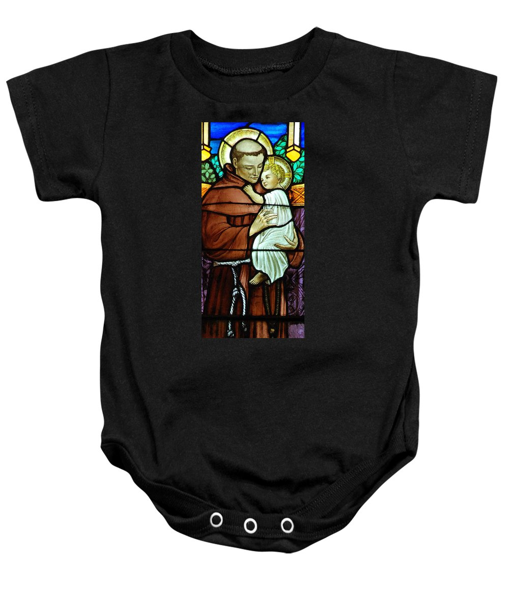 Saint Baby Onesie featuring the digital art St Anthony In Stained Glass by Philip Ralley