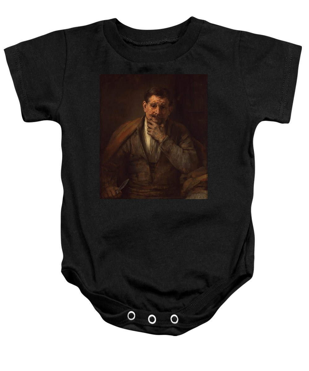 1661 Baby Onesie featuring the painting St. Bartholomew by Rembrandt van Rijn