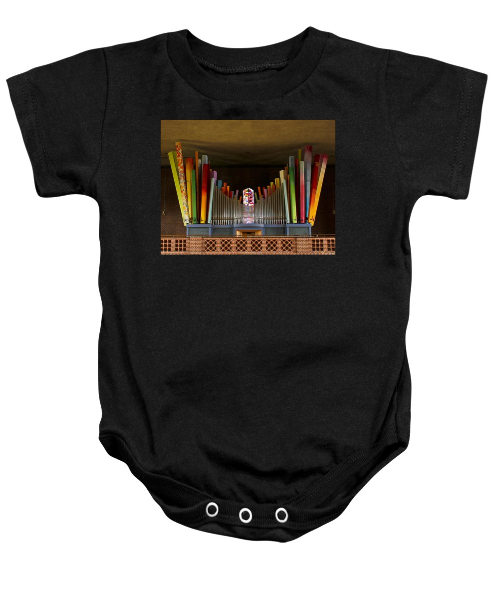 Orgel Baby Onesie featuring the photograph St Elisabeth Augsburg by Jenny Setchell