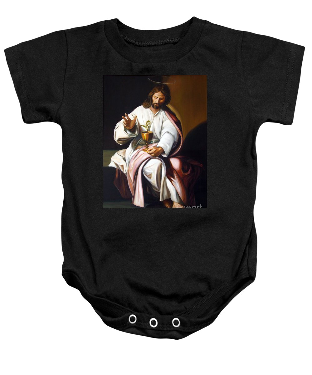Classic Art Baby Onesie featuring the painting St John The Evangelist by Silvana Abel