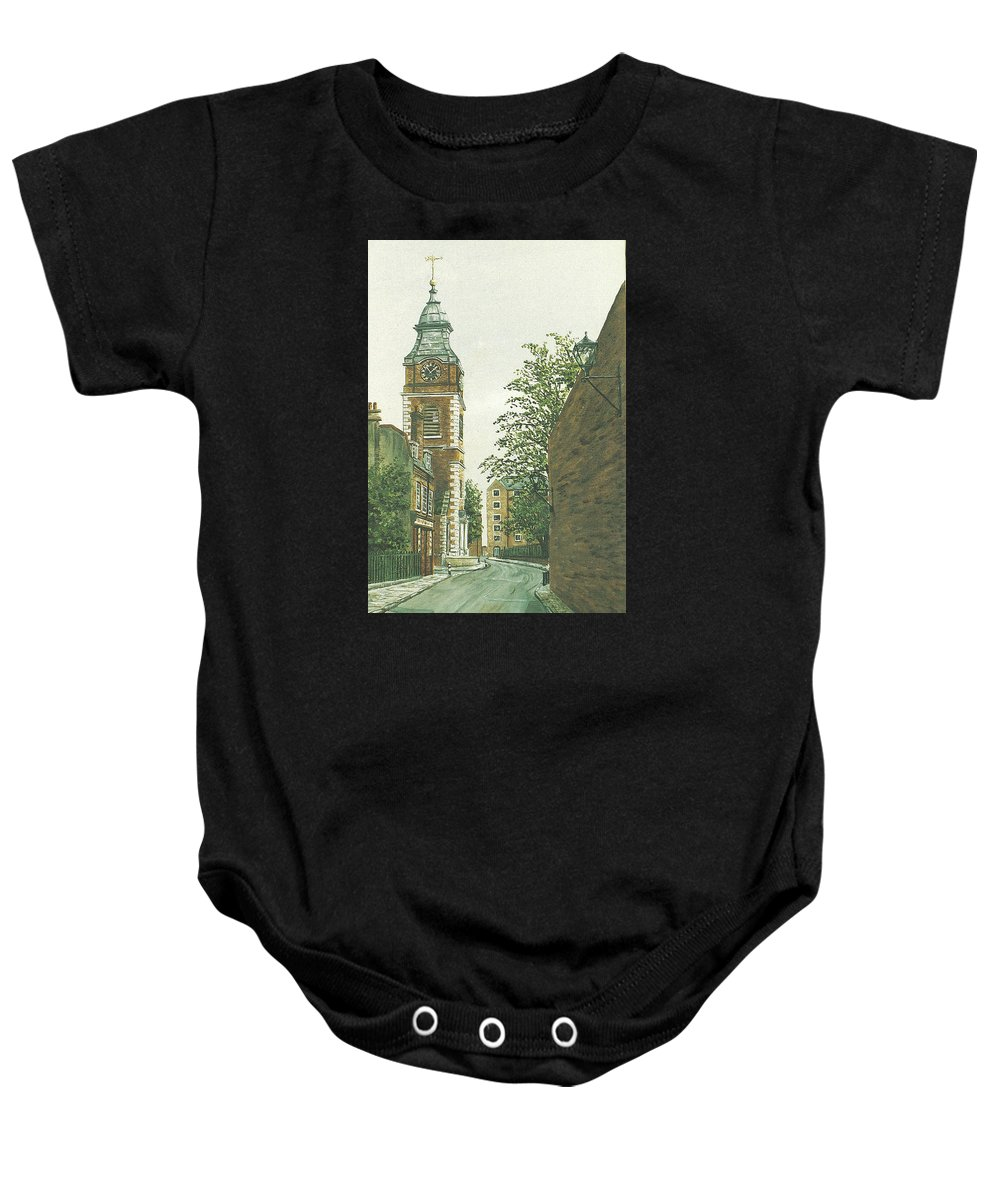 Scandrett Street Baby Onesie featuring the painting St Johns Church Wapping From Scandrett Street by Mackenzie Moulton