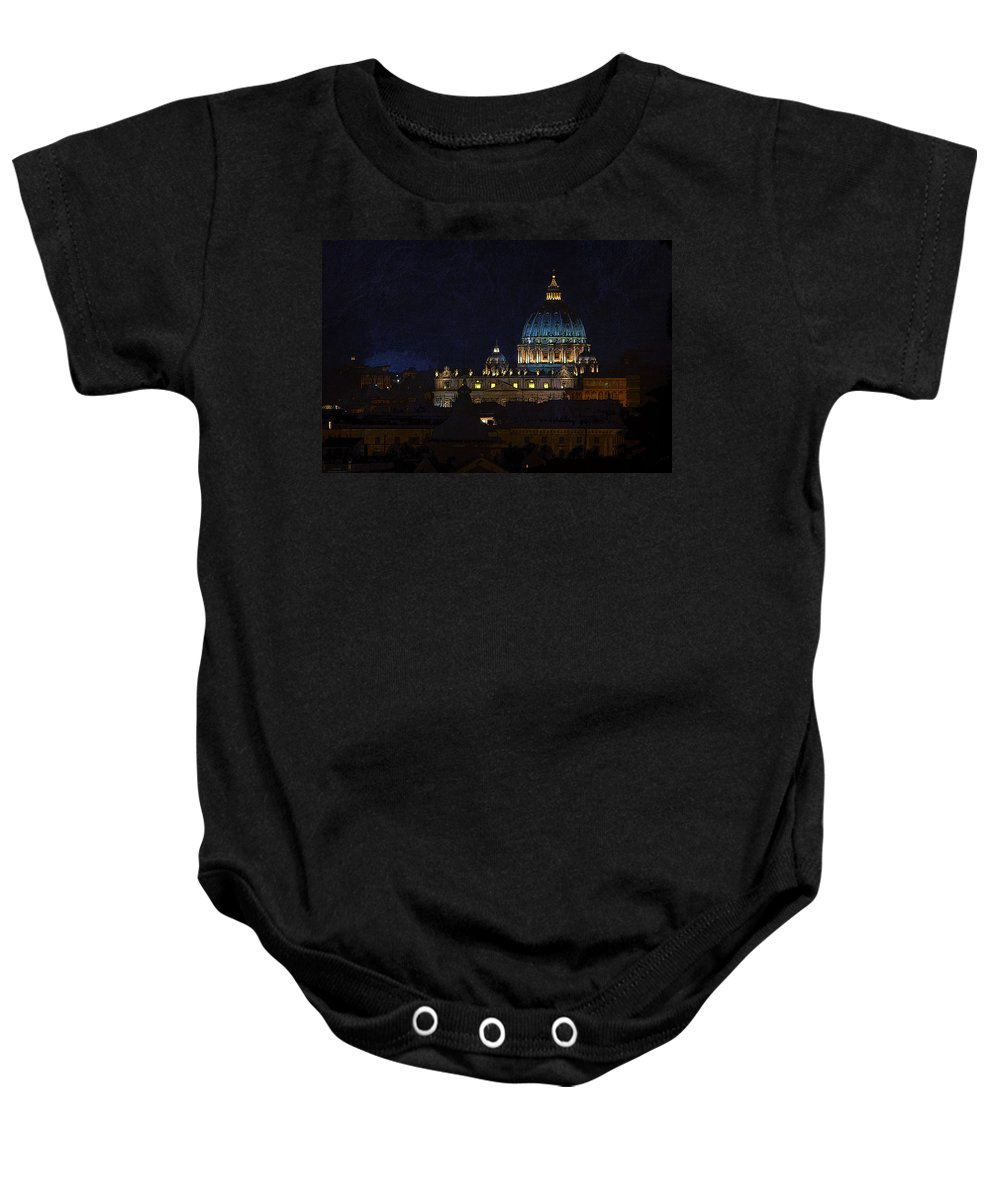 St Peters Baby Onesie featuring the photograph St Peters Basilica At Night by David Pringle