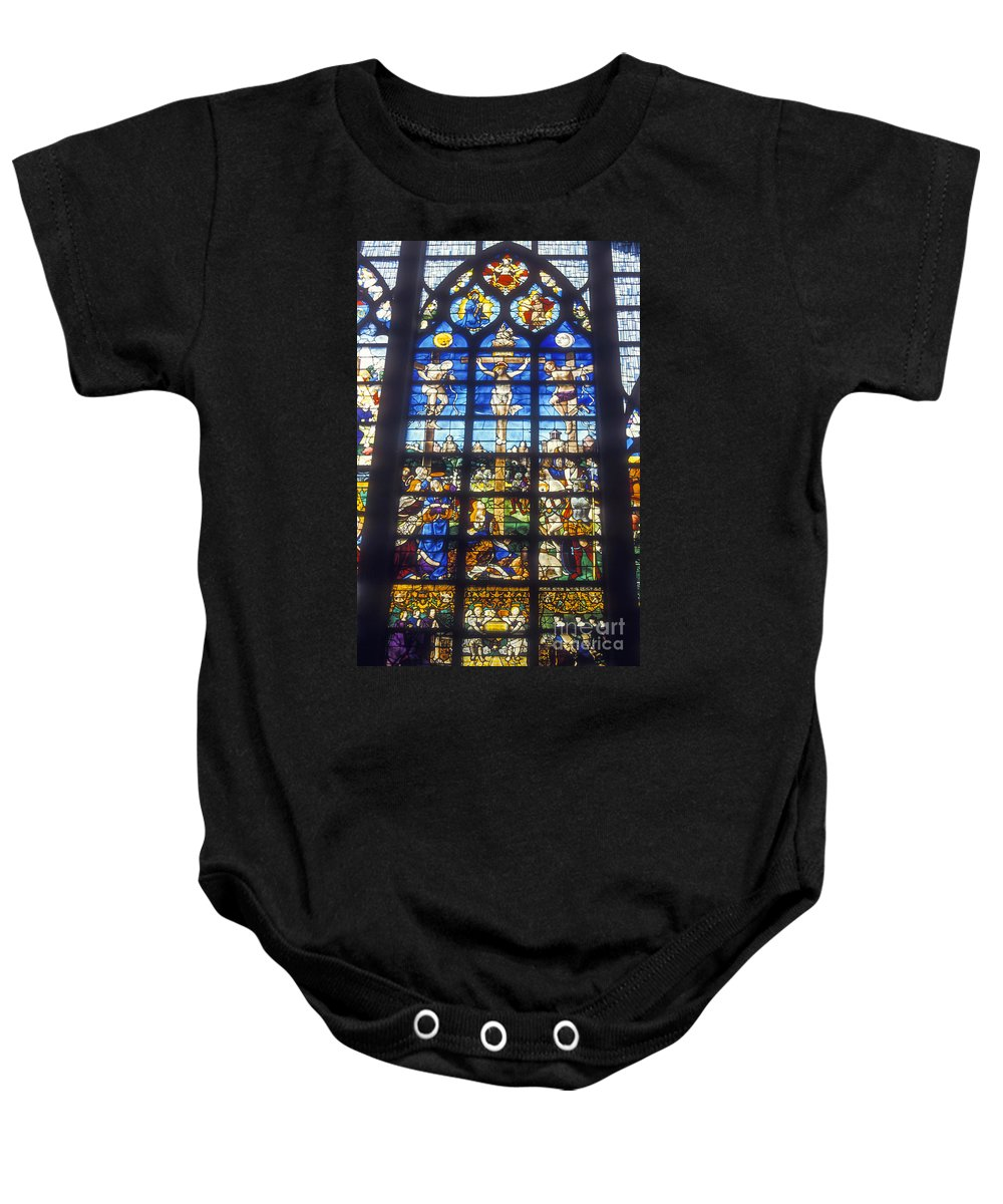 Church Of Saint Joan Of Arc Rouen France Churches Crucifixion Stained Glass Window Windows Baby Onesie featuring the photograph Stained Glass Crucifixion by Bob Phillips