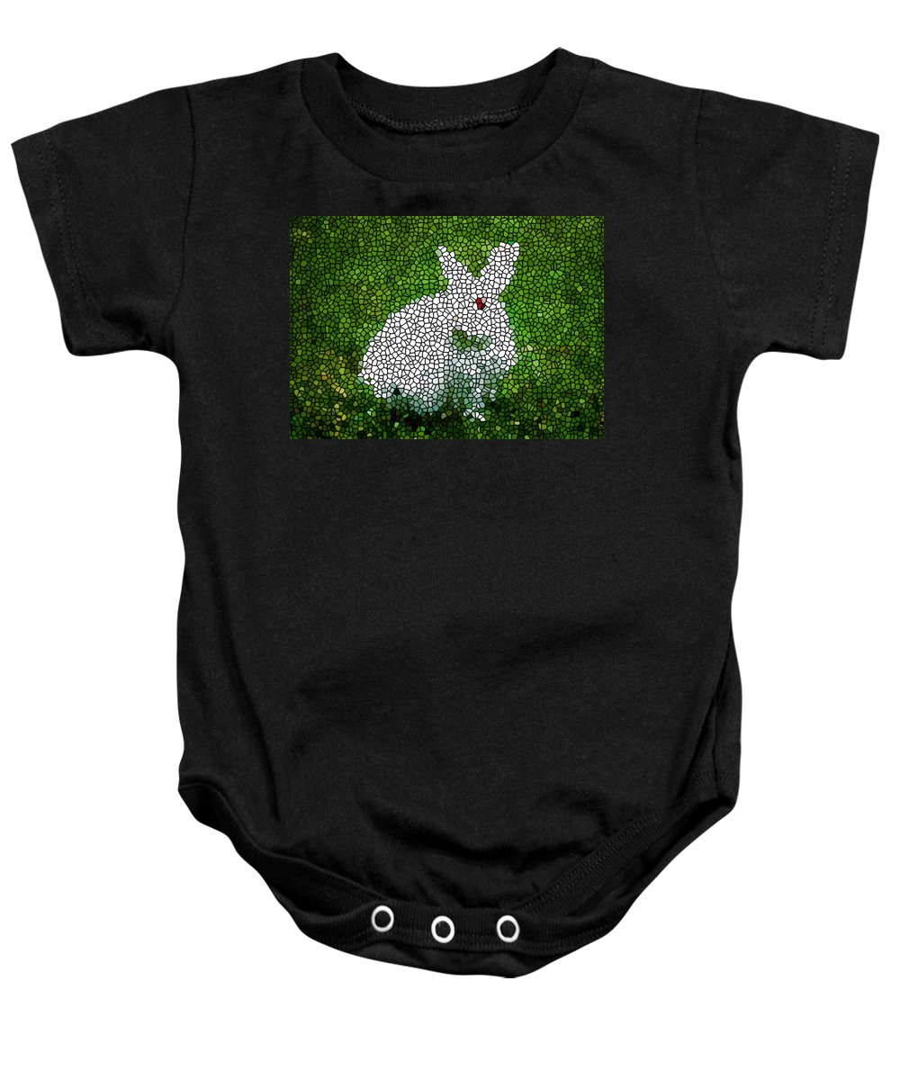 Stained Glass Rabbit Baby Onesie featuring the painting Stained Glass Rabbit by Jeelan Clark