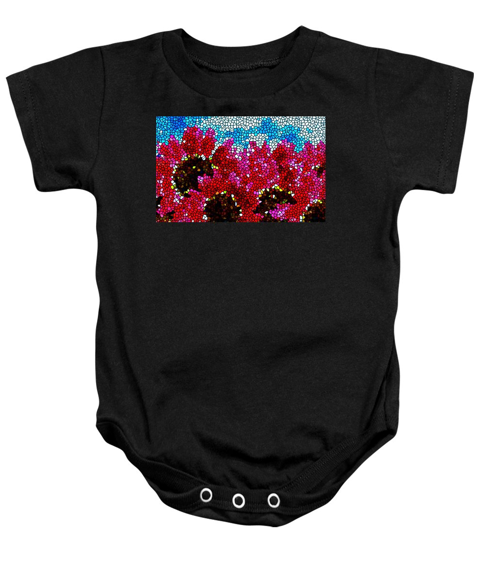Stained Glass Red Sunflowers Baby Onesie featuring the painting Stained Glass Red Sunflowers by Jeelan Clark