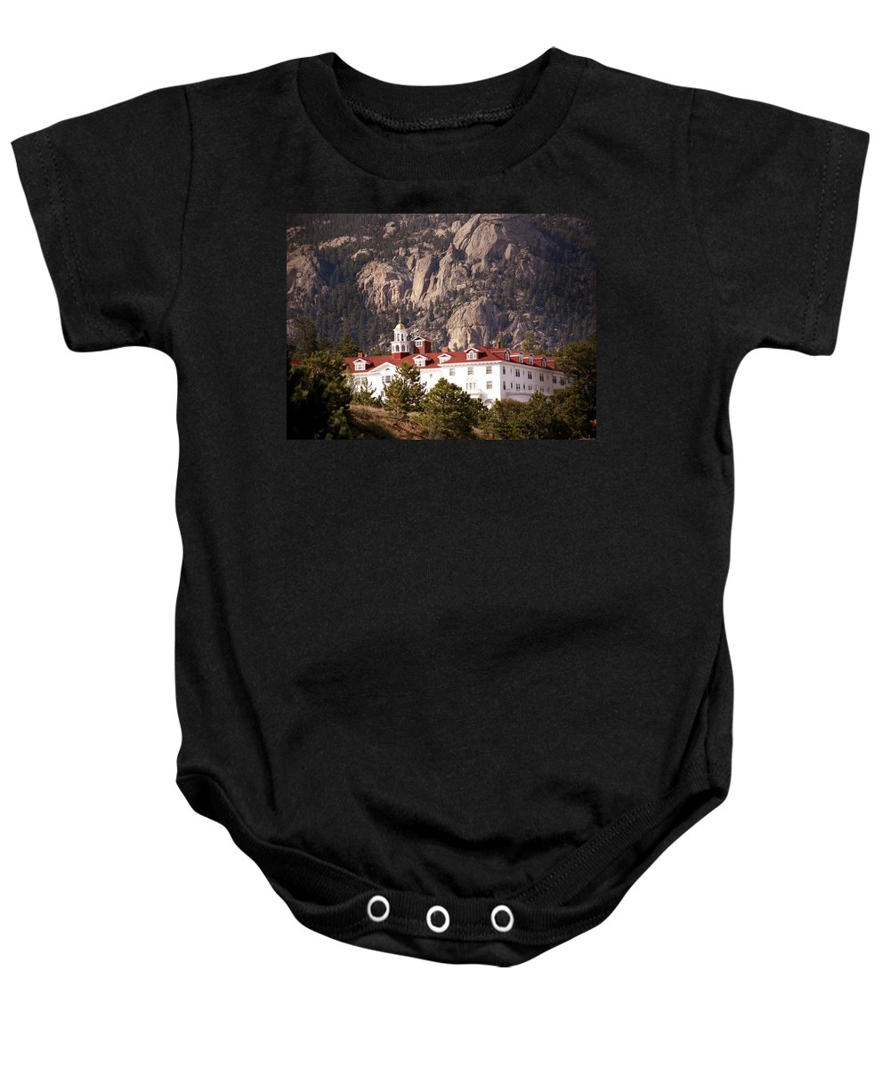 Estes Park Baby Onesie featuring the photograph Stanley Hotel Estes Park by Marilyn Hunt