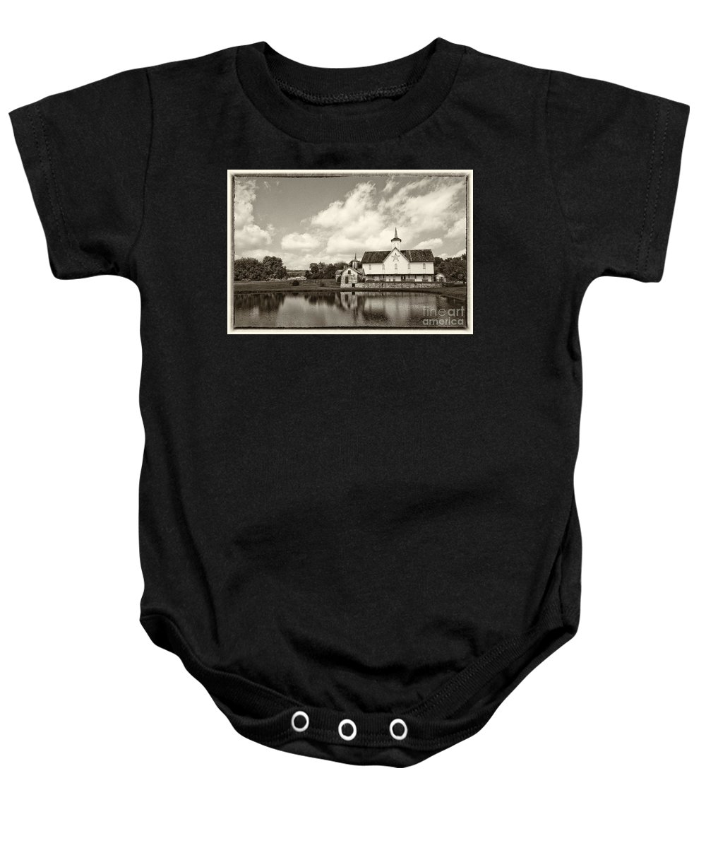 Barn Baby Onesie featuring the photograph Star Barn Antiqued by Paul W Faust - Impressions of Light