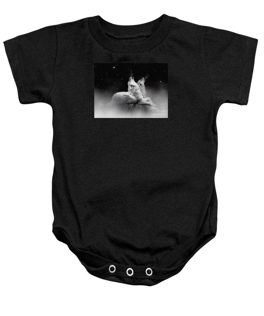 Wolf Baby Onesie featuring the painting Star Talkers by Robert Foster