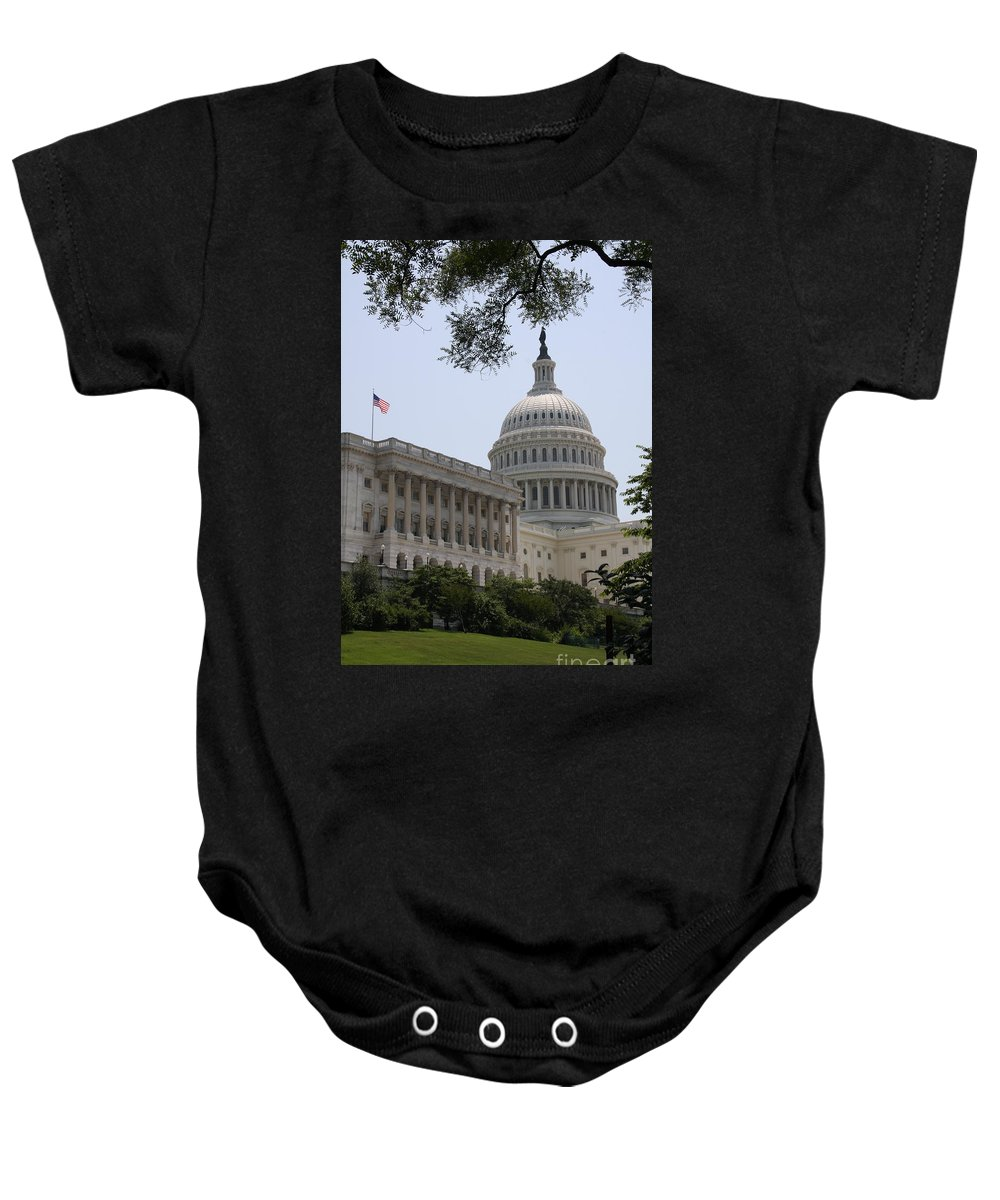 Capitol Baby Onesie featuring the photograph State Capitol Washington Dc by Christiane Schulze Art And Photography